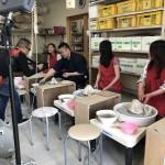 うどん付きロクロ体験 香港から撮影部隊が来て撮ってもらいました。